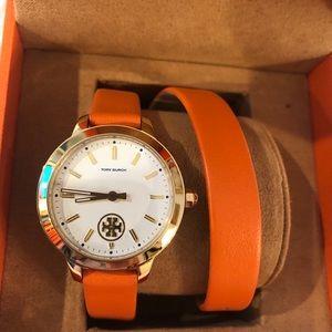 Tory Burch wraparound watch orange leather band